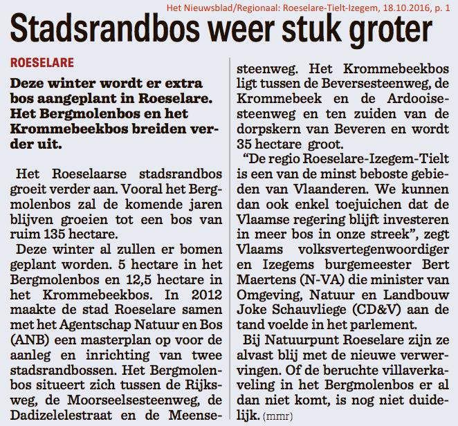 Het Nieuwsblad/Regionaal: Roeselare-Tielt-Izegem, 18.10.2016, p. 1