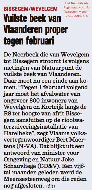 Het Nieuwsblad/Regionaal: Kortrijk-Waregem-Menen, 27.10.2016, p. 5