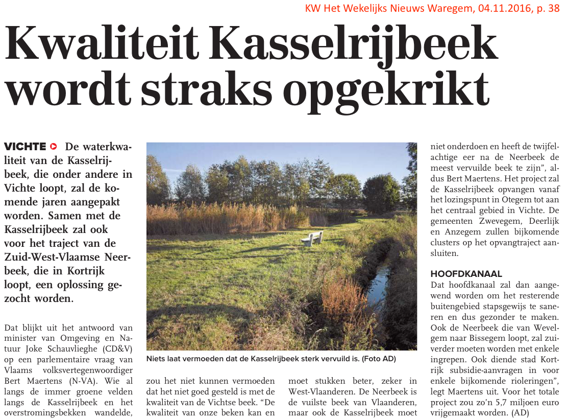KW Het Wekelijks Nieuws Waregem, 04.11.2016, p. 38