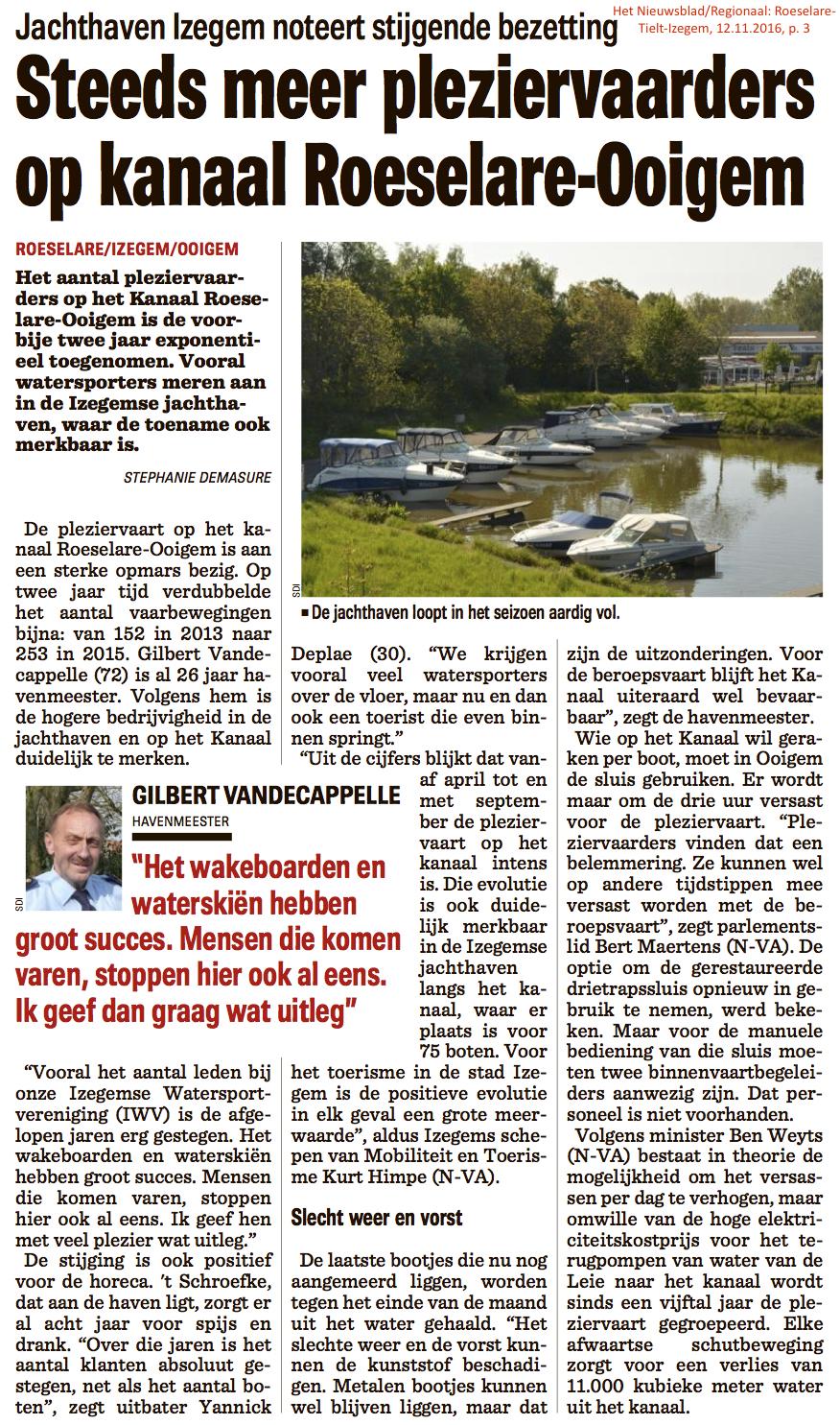Het Nieuwsblad/Regionaal: Roeselare-Tielt-Izegem, 12.11.2016, p. 3