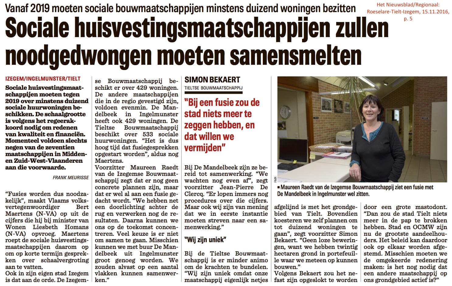 Het Nieuwsblad/Regionaal: Roeselare-Tielt-Izegem, 15.11.2016, p. 5
