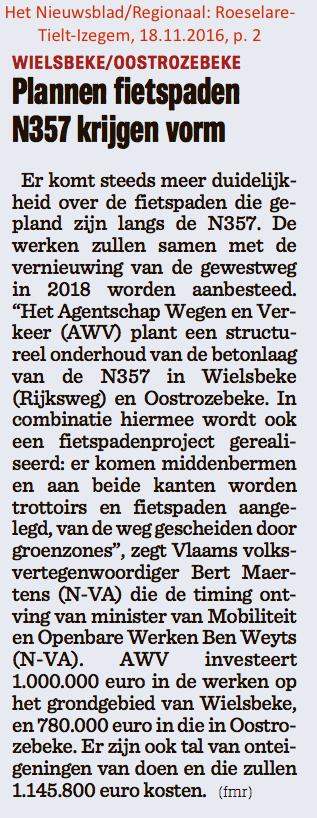 Het Nieuwsblad/Regionaal: Roeselare-Tielt-Izegem, 18.11.2016, p. 2
