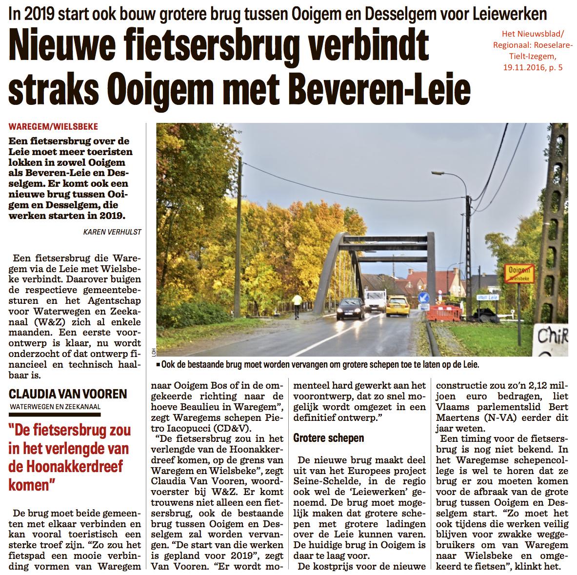Het Nieuwsblad/Regionaal: Roeselare-Tielt-Izegem, 19.11.2016, p. 5