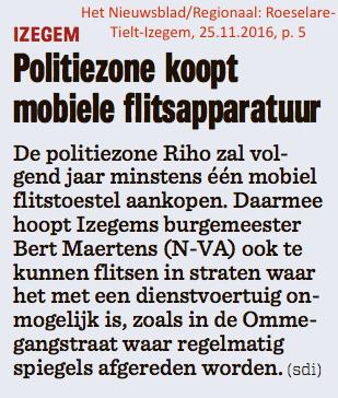 Het Nieuwsblad/Regionaal: Roeselare-Tielt-Izegem, 25.11.2016, p. 5
