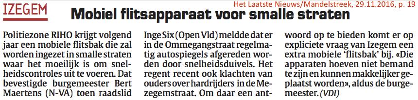 Het Laatste Nieuws/Mandelstreek, 29.11.2016, p. 19