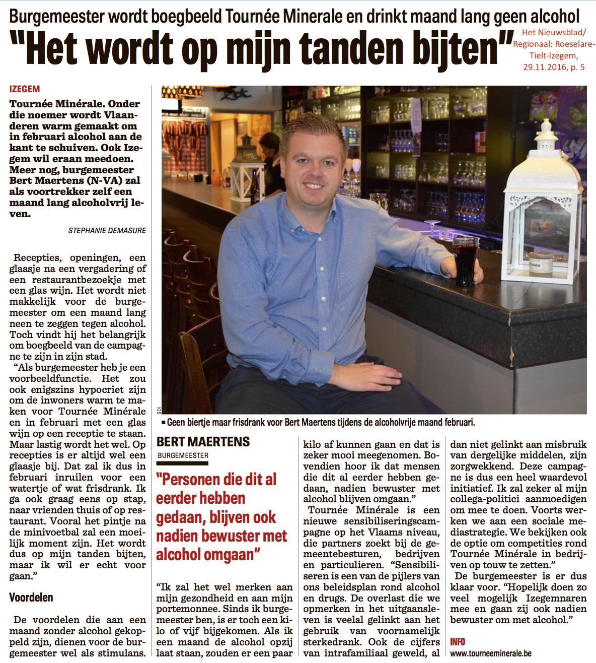 Het Nieuwsblad/Regionaal: Roeselare-Tielt-Izegem, 29.11.2016, p. 5