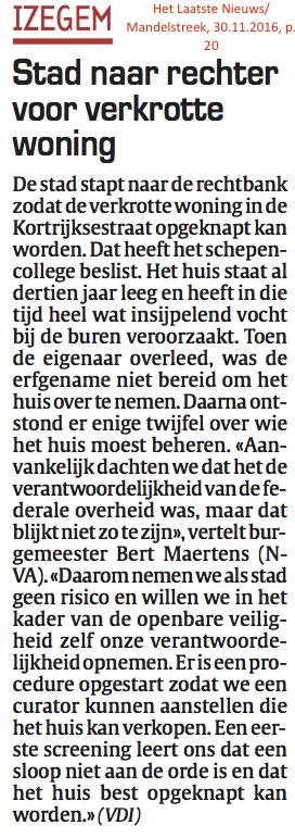 Het Laatste Nieuws/Mandelstreek, 30.11.2016, p. 20