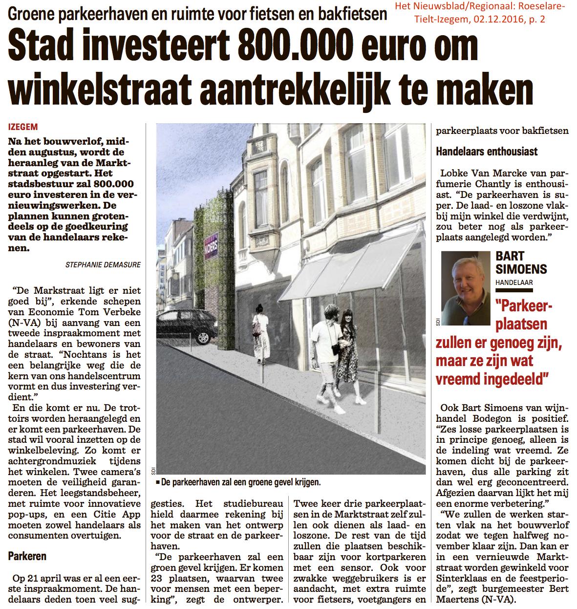 Het Nieuwsblad/Regionaal: Roeselare-Tielt-Izegem, 02.12.2016, p. 2