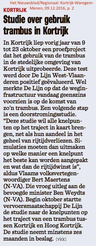 Het Nieuwsblad/Regionaal: Kortrijk-Waregem-Menen, 09.12.2016, p. 2