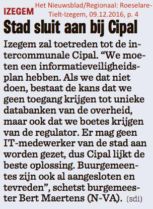 Het Nieuwsblad/Regionaal: Roeselare-Tielt-Izegem, 09.12.2016, p. 4