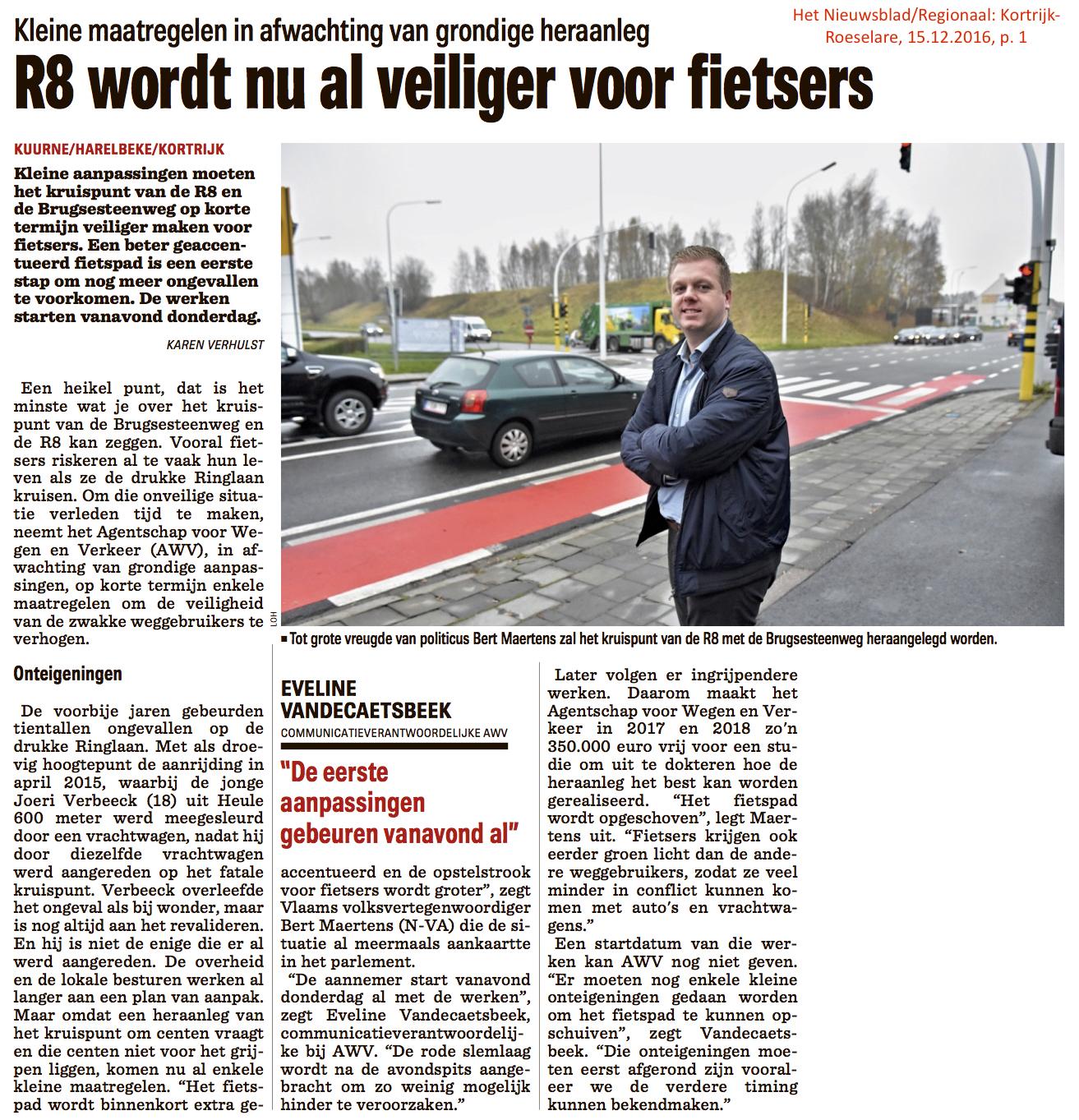 Het Nieuwsblad/Regionaal: Kortrijk-Roeselare, 15.12.2016, p. 1