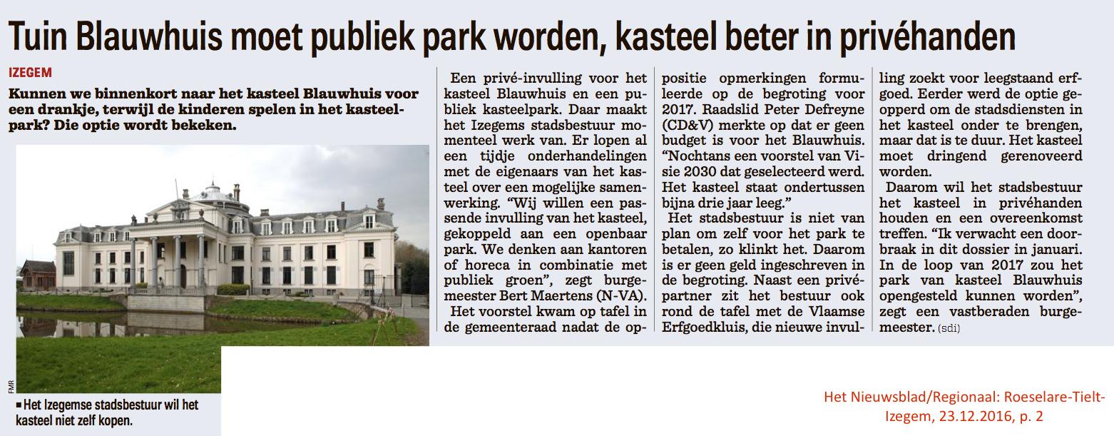Het Nieuwsblad/Regionaal: Roeselare-Tielt-Izegem, 23.12.2016, p. 2