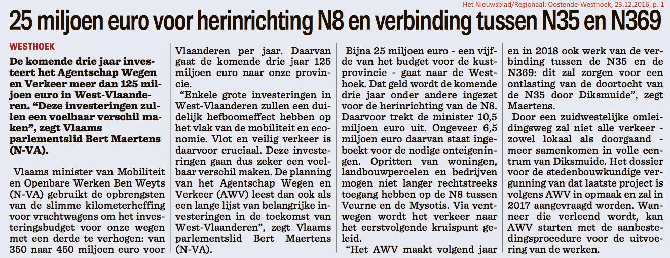 Het Nieuwsblad/Regionaal: Oostende-Westhoek, 23.12.2016, p. 1