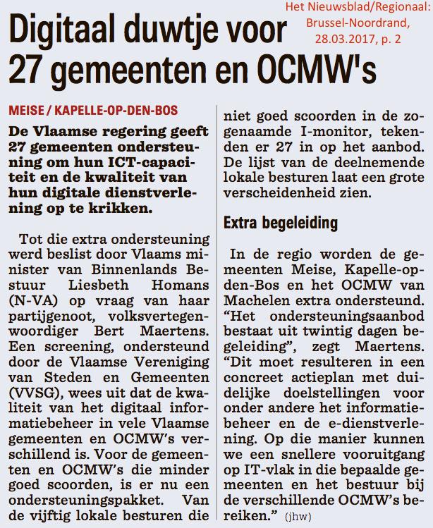 Het Nieuwsblad/Regionaal: Brussel-Noordrand, 28.03.2017, p. 2