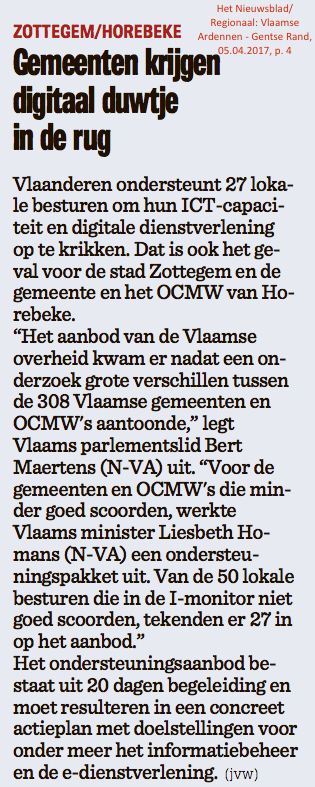 Het Nieuwsblad/Regionaal: Vlaamse Ardennen - Gentse Rand, 05.04.2017, p. 4