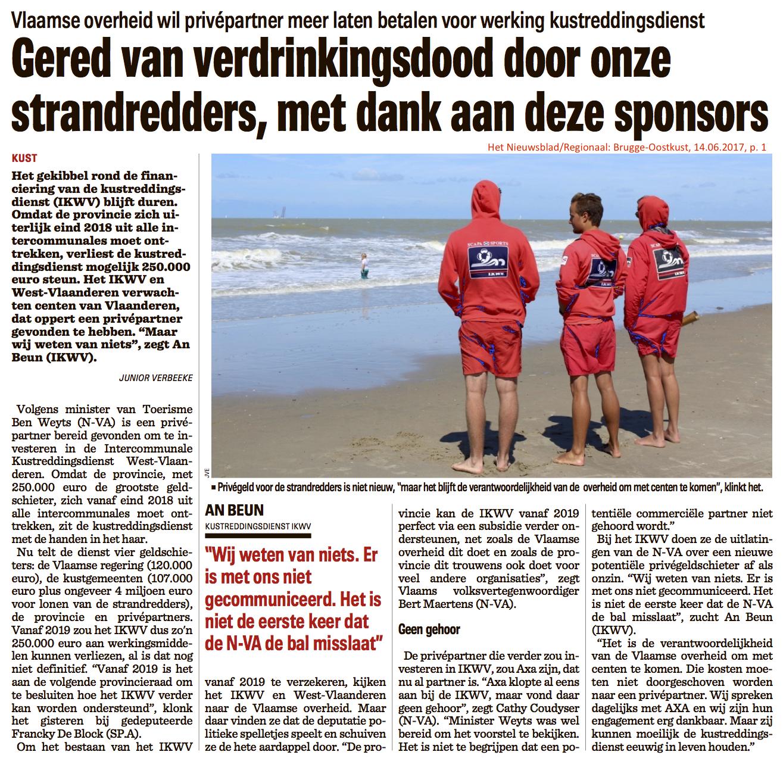 Het Nieuwsblad/Regionaal: Brugge-Oostkust, 14.06.2017, p. 1