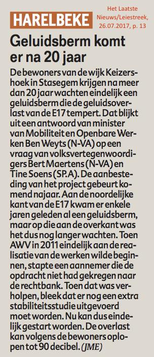 Het Laatste Nieuws/Leiestreek, 26.07.2017, p. 13