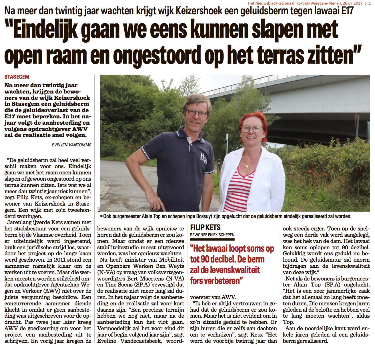 Het Nieuwsblad/Regionaal: Kortrijk-Waregem-Menen, 26.07.2017, p. 1