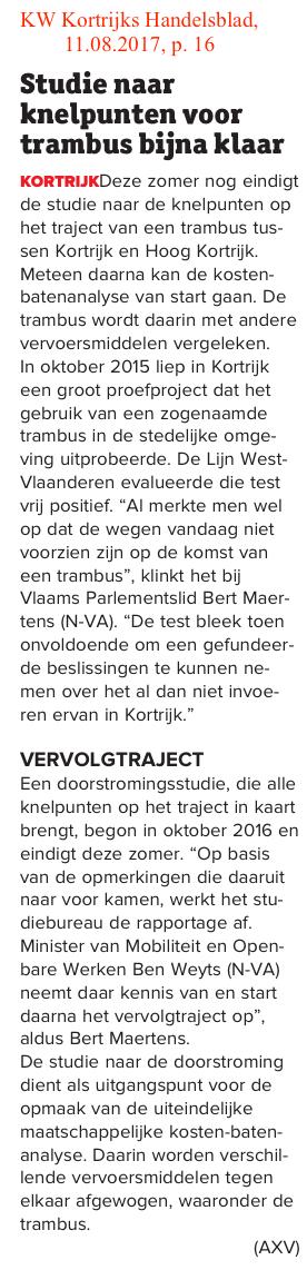 KW Kortrijks Handelsblad, 11.08.2017, p. 16