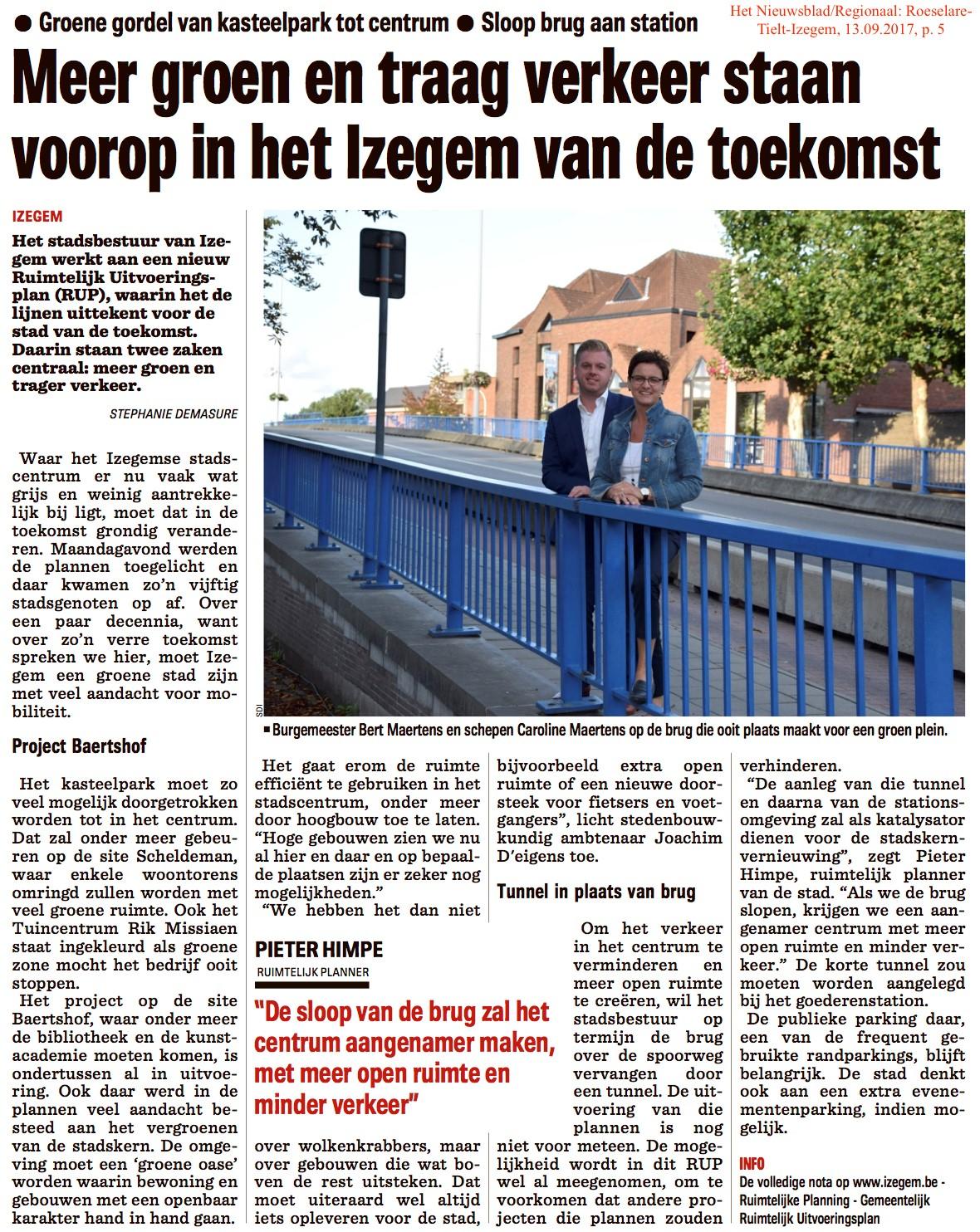 Het Nieuwsblad/Regionaal: Roeselare-Tielt-Izegem, 13.09.2017, p. 5