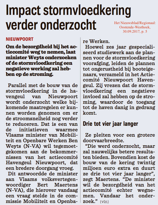 Het Nieuwsblad/Regionaal: Oostende-Westhoek, 30.10.2017, p. 5