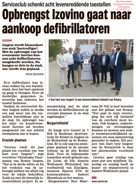 Het Nieuwsblad/Regionaal: Roeselare-Tielt-Izegem, 04.10.2017, p. 5