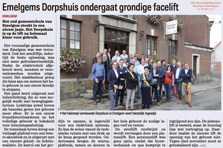 Het Nieuwsblad/Regionaal: Roeselare-Tielt-Izegem, 11.10.2017, p. 3