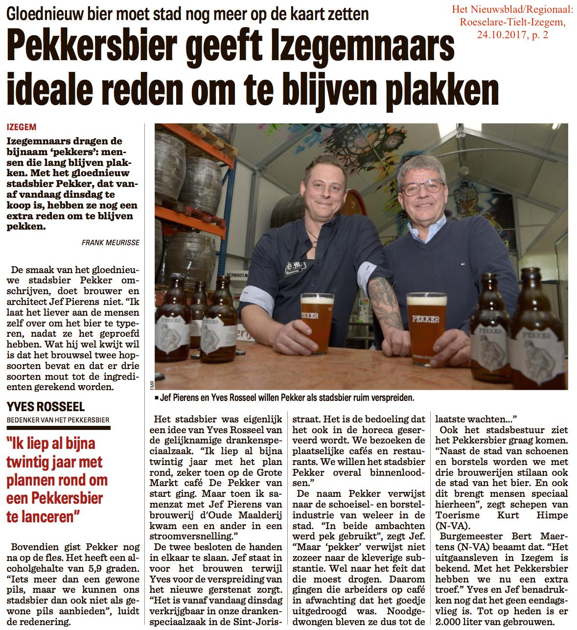 Het Nieuwsblad/Regionaal: Roeselare-Tielt-Izegem, 24.10.2017, p. 2