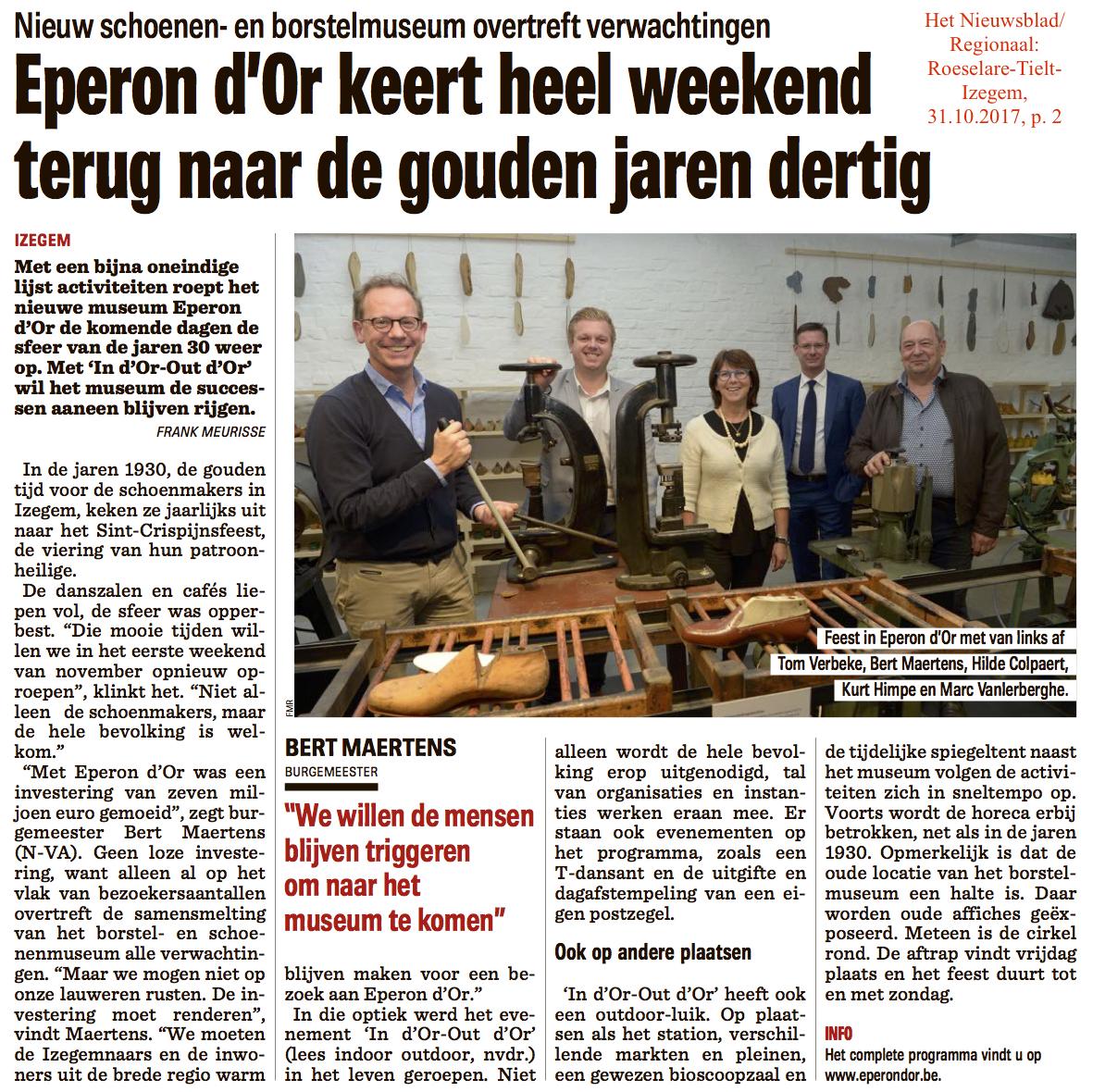 Het Nieuwsblad/Regionaal: Roeselare-Tielt-Izegem, 31.10.2017, p. 2