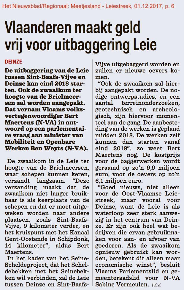 Het Nieuwsblad/Regionaal: Meetjesland - Leiestreek, 01.12.2017, p. 6