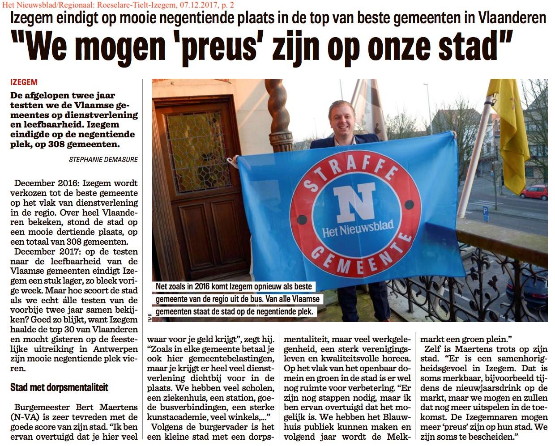 Het Nieuwsblad/Regionaal: Roeselare-Tielt-Izegem, 07.12.2017, p. 2