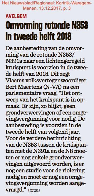 Het Nieuwsblad/Regionaal: Kortrijk-Waregem-Menen, 13.12.2017, p. 3