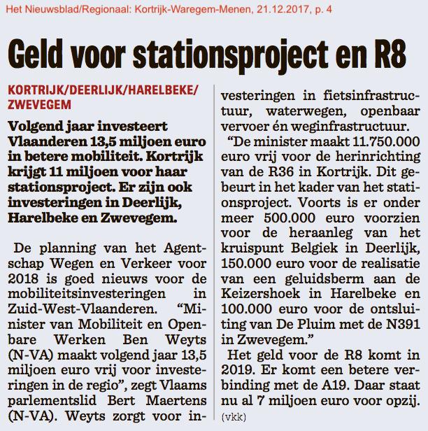 Het Nieuwsblad/Regionaal: Kortrijk-Waregem-Menen, 21.12.2017, p. 4
